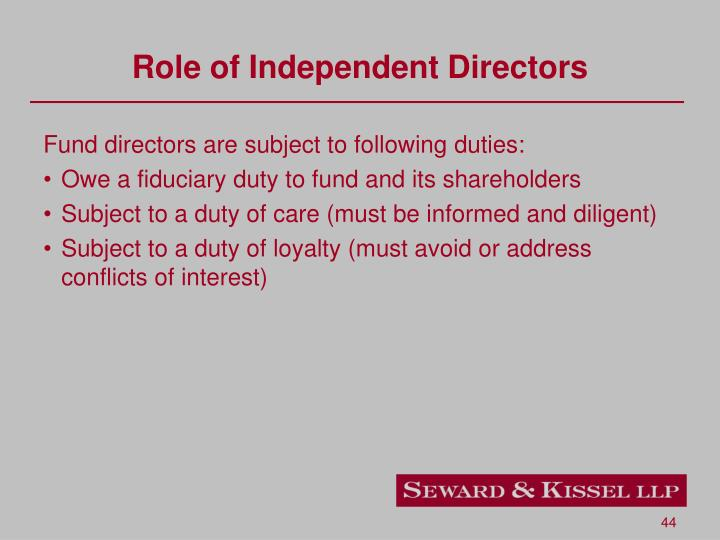 Role of Independent Directors
