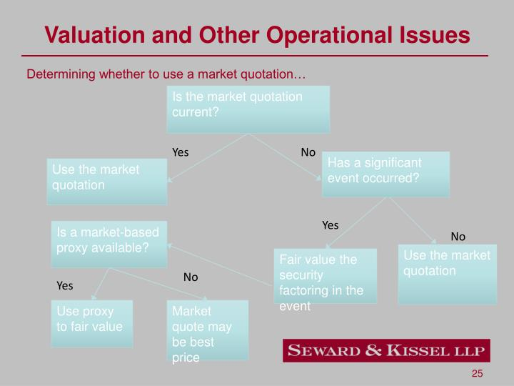 Valuation and Other Operational Issues