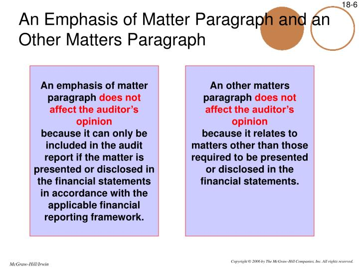 An Emphasis of Matter Paragraph and an Other Matters Paragraph