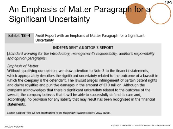 An Emphasis of Matter Paragraph for a Significant Uncertainty