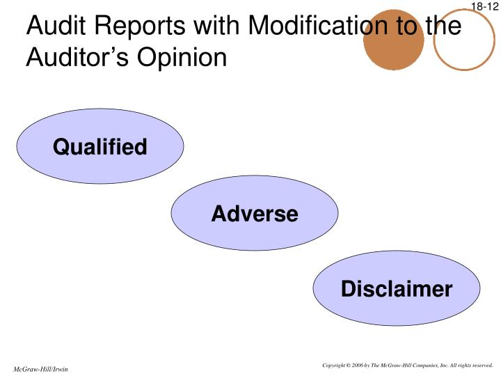 Audit Reports with Modification to the Auditor's Opinion