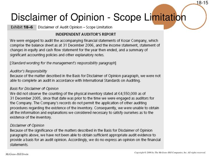 Disclaimer of Opinion - Scope Limitation