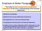 emphasis of matter paragraphs