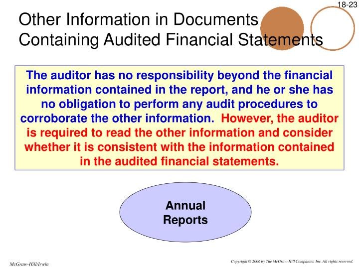 Other Information in Documents Containing Audited Financial Statements