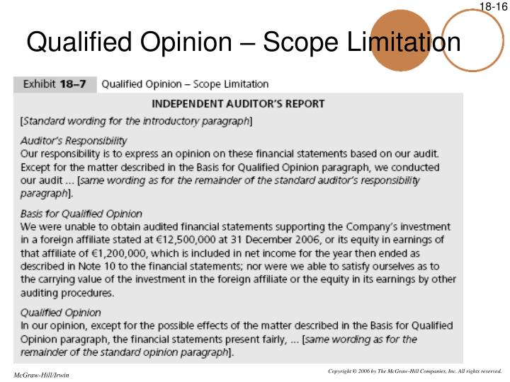 Qualified Opinion – Scope Limitation