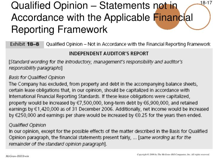 Qualified Opinion – Statements not in Accordance with the Applicable Financial Reporting Framework