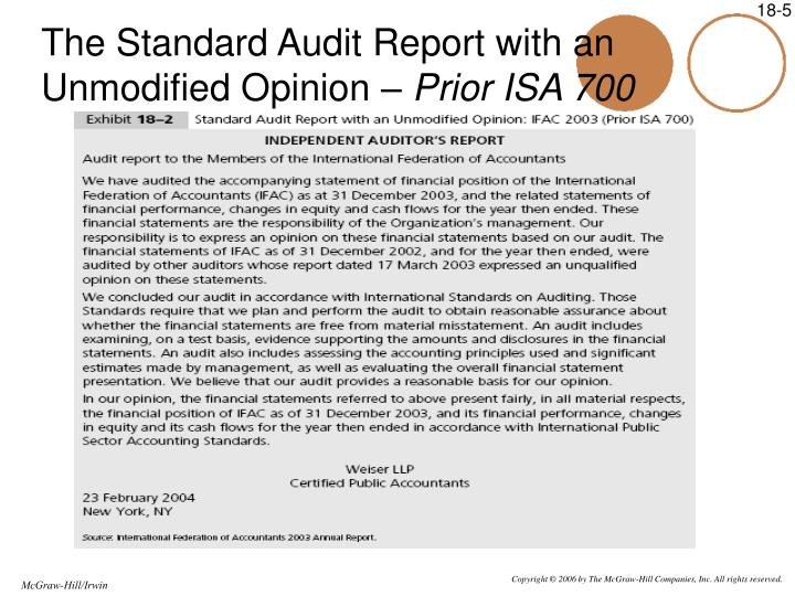 The Standard Audit Report with an Unmodified Opinion –