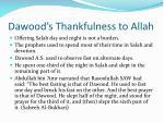 dawood s thankfulness to allah