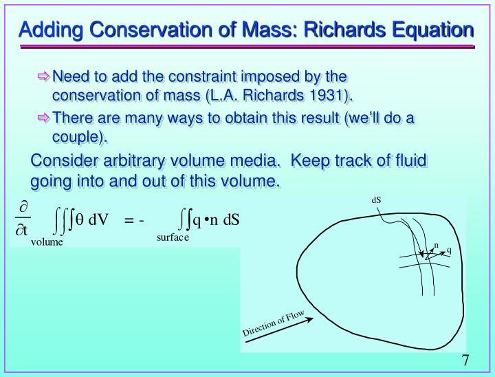 Adding Conservation of Mass: Richards Equation