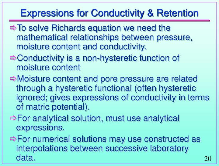 Expressions for Conductivity & Retention