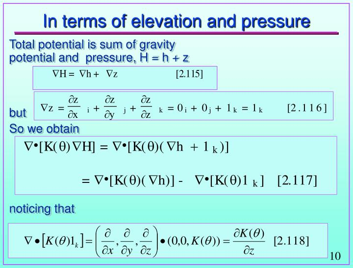 In terms of elevation and pressure