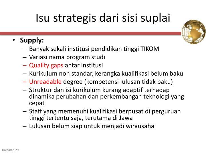 Isu strategis dari sisi suplai