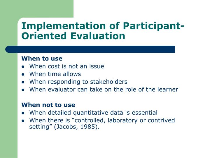 Implementation of Participant-Oriented Evaluation