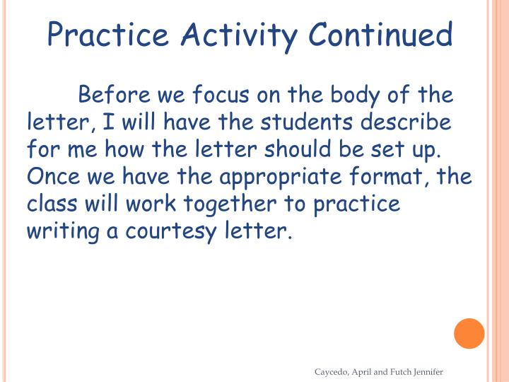 Practice Activity Continued