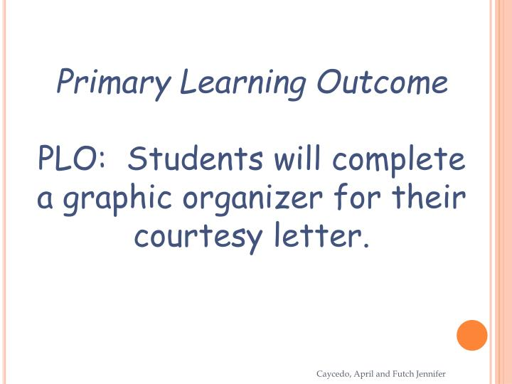 Primary Learning Outcome