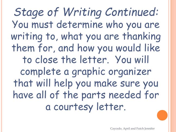 Stage of Writing Continued: