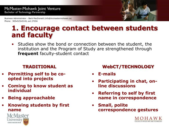1. Encourage contact between students and faculty