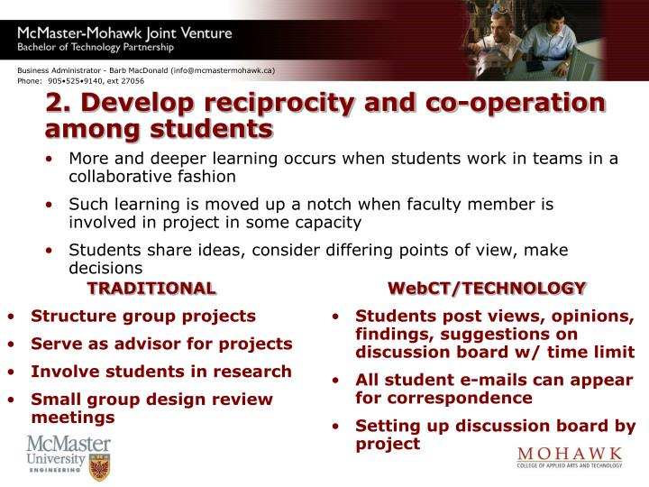 2. Develop reciprocity and co-operation among students