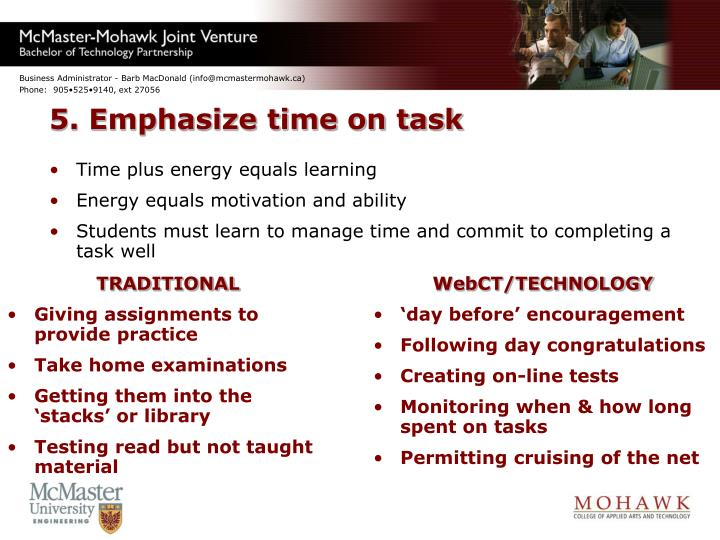 5. Emphasize time on task