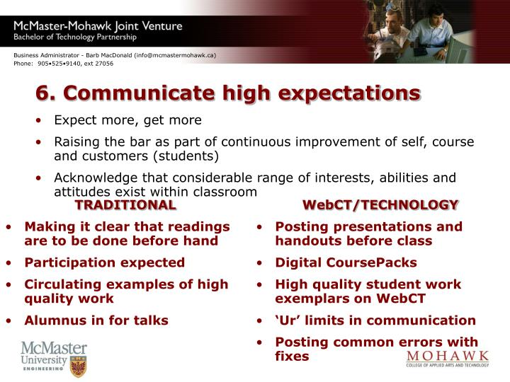 6. Communicate high expectations