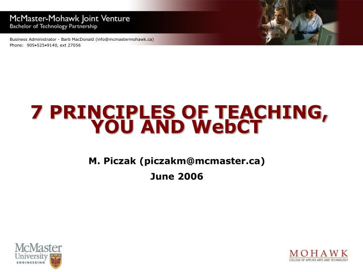 7 principles of teaching you and webct