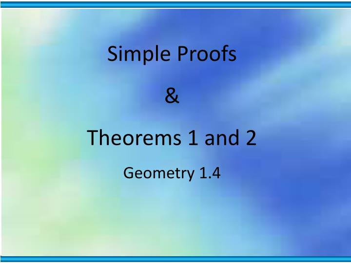 Simple Proofs