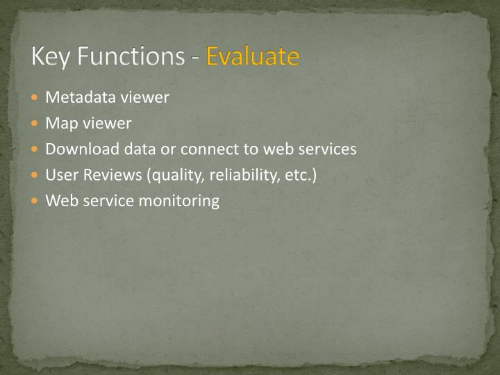 Key Functions -