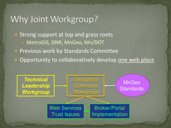 Why Joint Workgroup?
