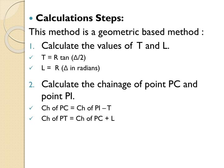 Calculations Steps: