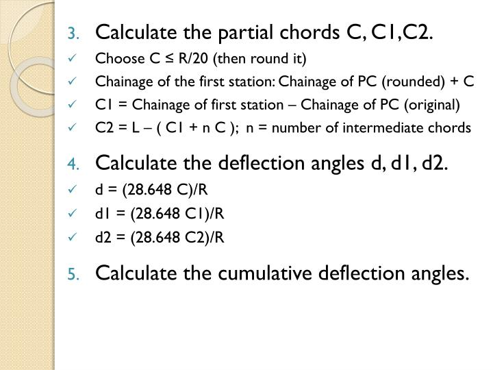 Calculate the partial chords C, C1,C2.