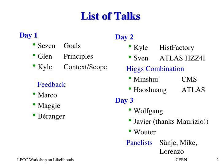 List of Talks