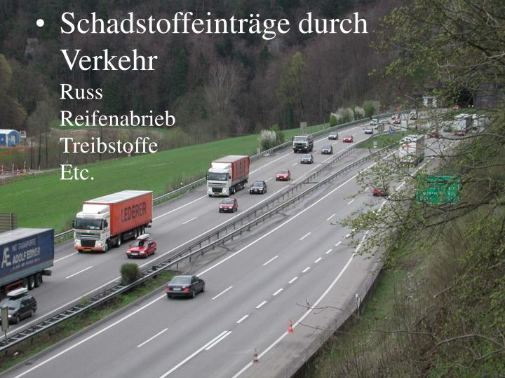 Schadstoffeinträge durch Verkehr