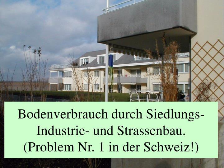Bodenverbrauch durch Siedlungs- Industrie- und Strassenbau.