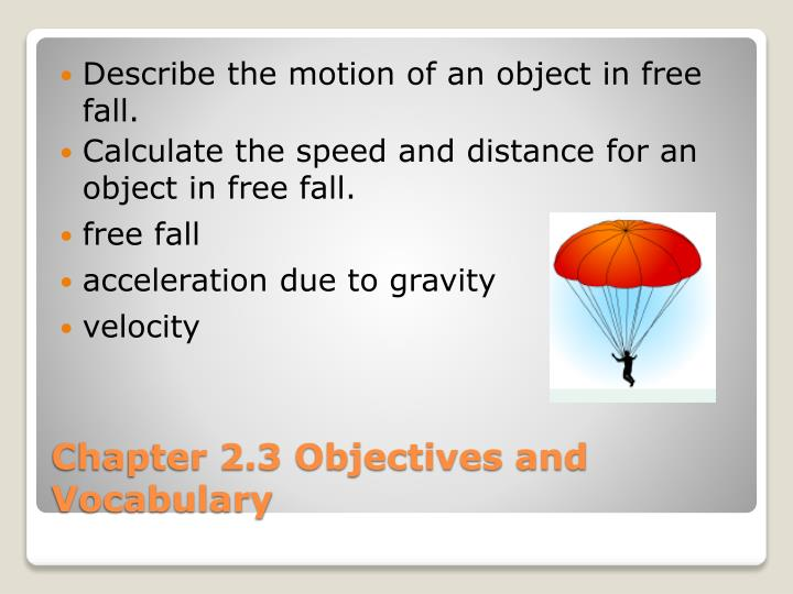 Describe the motion of an object in free fall.
