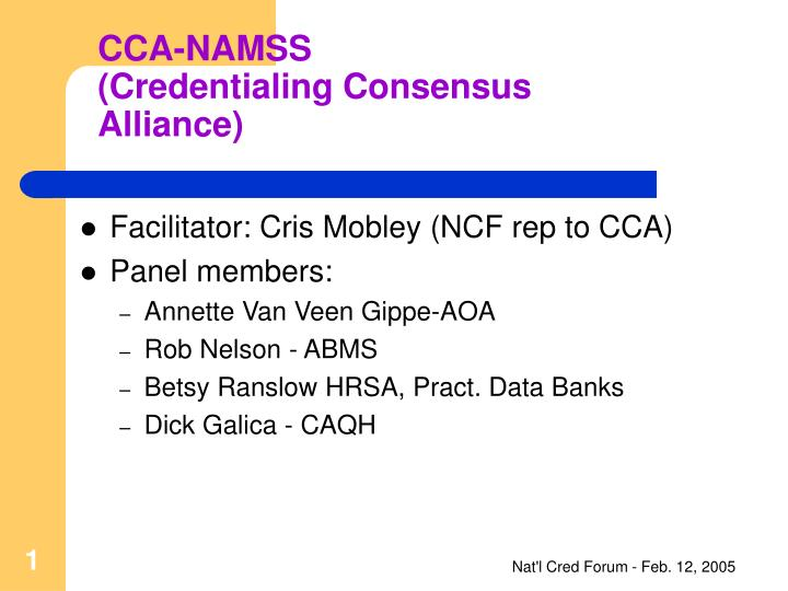 Cca namss credentialing consensus alliance