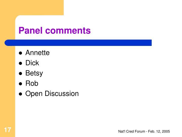 Panel comments
