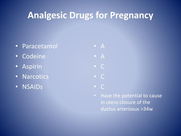Analgesic Drugs for Pregnancy