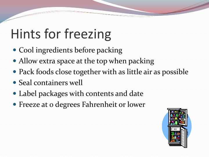 Hints for freezing