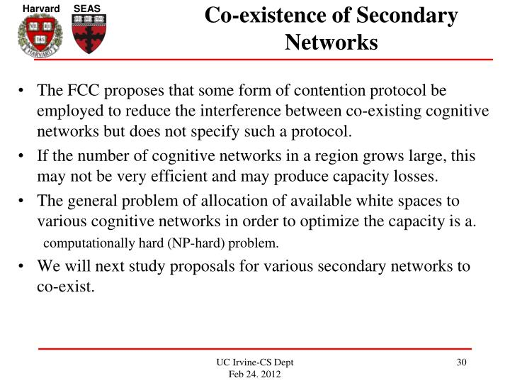 Co-existence of Secondary Networks