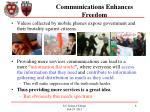 communications enhances freedom