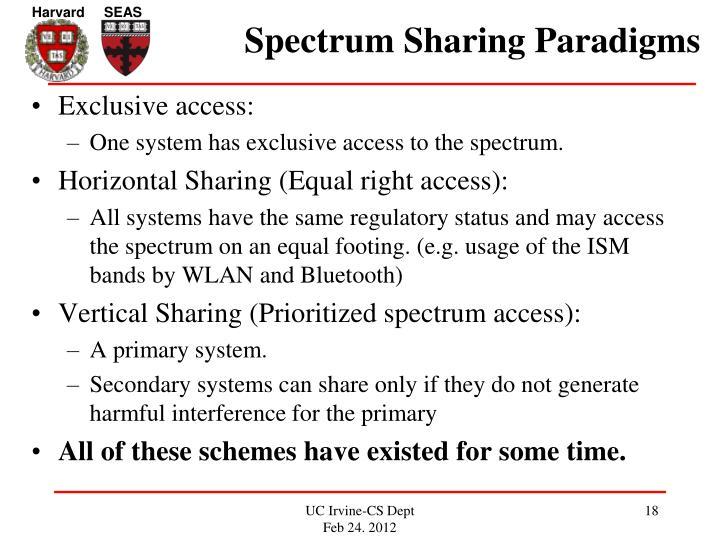 Spectrum Sharing Paradigms