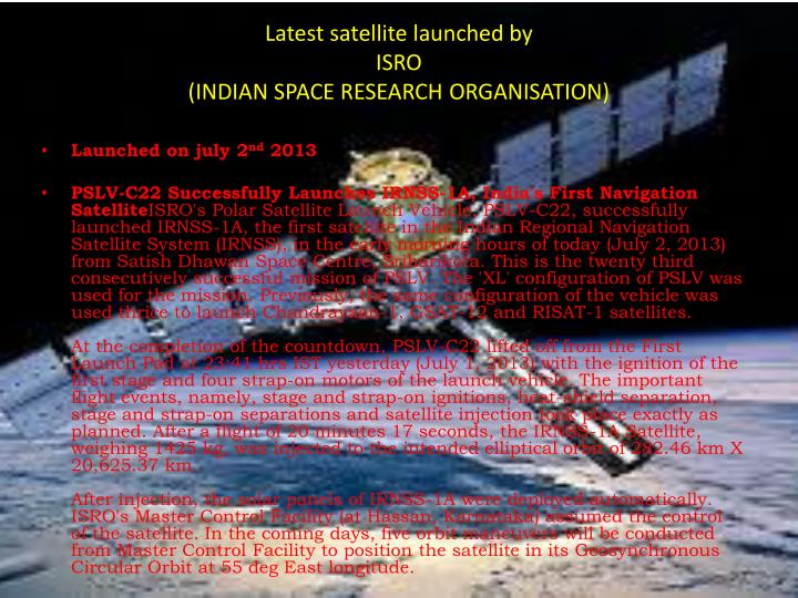 Latest satellite launched by