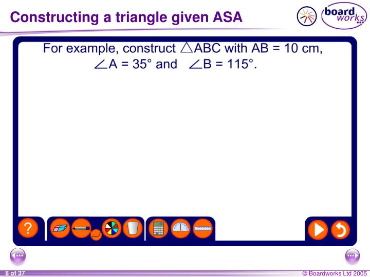 Constructing a triangle given ASA