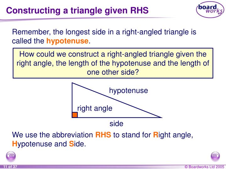 Constructing a triangle given RHS
