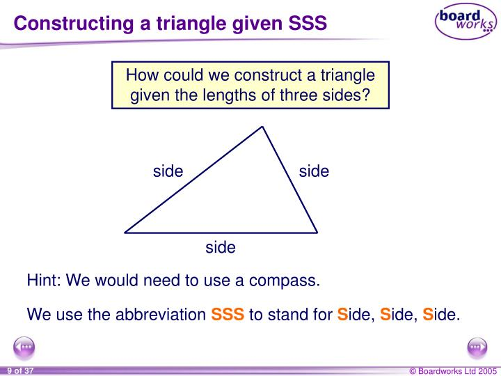 Constructing a triangle given SSS