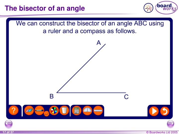 The bisector of an angle