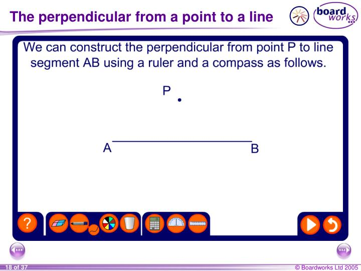 The perpendicular from a point to a line