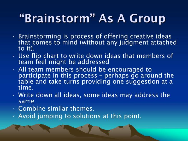 """""""Brainstorm"""" As A Group"""