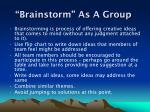 brainstorm as a group