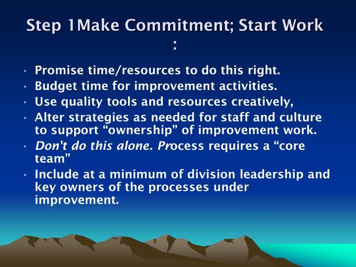 Step 1Make Commitment; Start Work